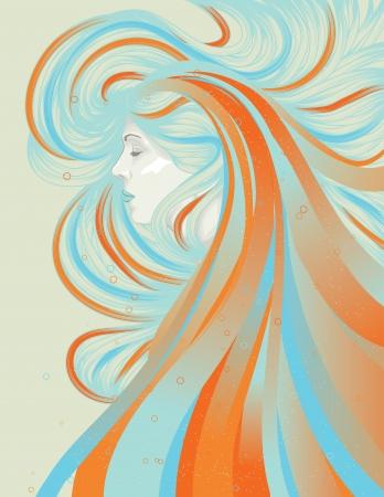 cabello largo y hermoso: Mujer con el pelo largo que fluye abstracto