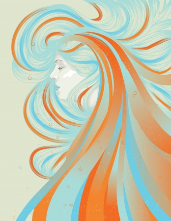 blue hair: Woman with long abstract flowing hair Illustration
