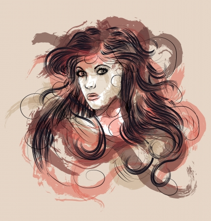Beautiful hand drawn fashion sketch of woman with long hair