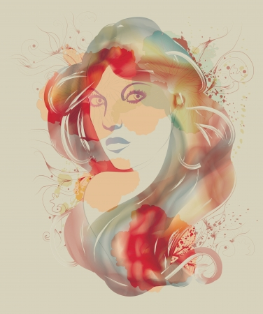 Beautiful watercolor fashion sketch of woman Stock Vector - 18320482