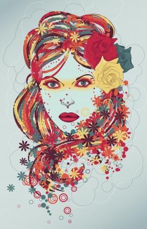 美しい手描きの女性のファッションのイラスト