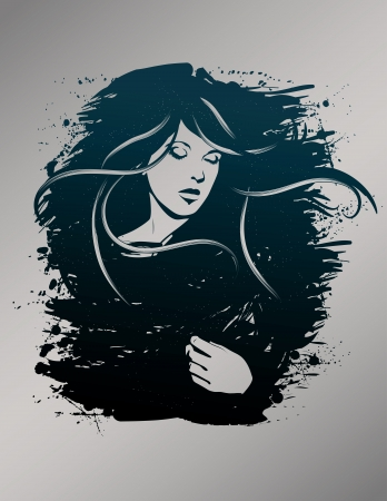 Beautiful hand drawn woman fashion illustration Vectores