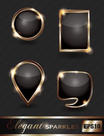 web: Vector set of elegant sparkling black and gold web buttons Illustration