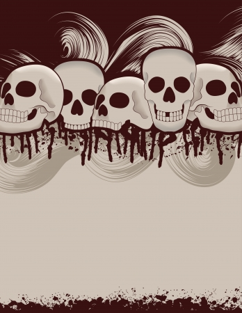 Spooky Halloween skull and dripping blood page background Vector