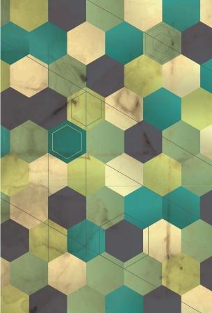teal background: retro grunge honeycomb pattern background   Illustration
