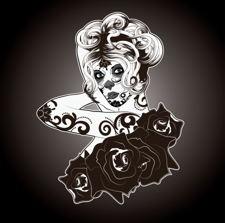 Black and White Calavera Catrina or Sugar Skull Lady dressed for Day of the Dead