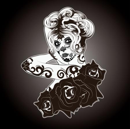 gitana: Negro y Blanco Calavera Catrina o se�ora del cr�neo del az�car vestidos para el D�a de los Muertos Vectores