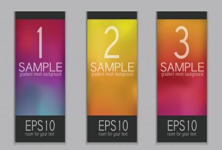 Set of Vibrant Spectrum Gradient Mesh Tags Vector
