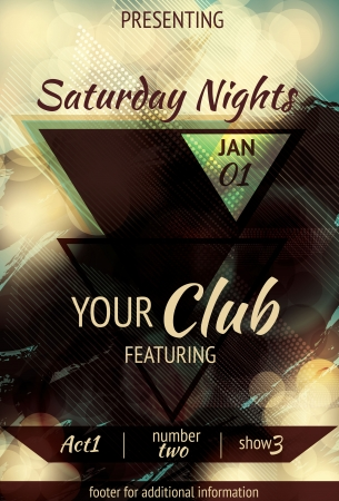 Retro Abstract triangle design light effect club flyer Vettoriali