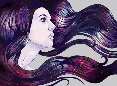 Woman s face with starry background hair Vector