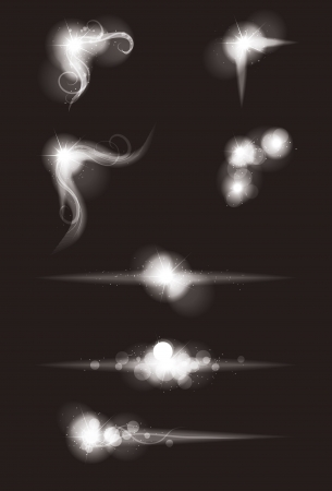 Set of Vector glowing special light effect graphic elements with sparkles