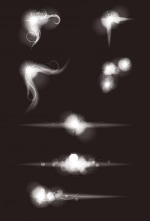 Set van vector gloeiende speciale lichteffect grafische elementen met glitters Stockfoto - 21191615