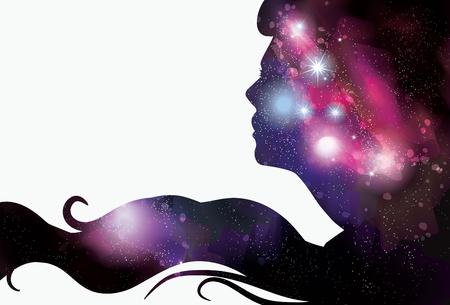 Vrouw s gezicht silhouet met sterrenhemel achtergrond haar Stockfoto - 21191620