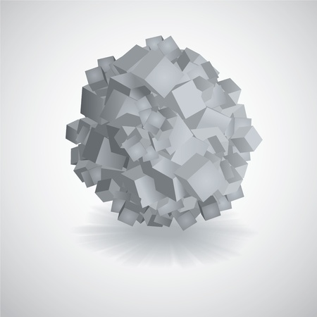 3D Background of Circle made from square cubes Vector