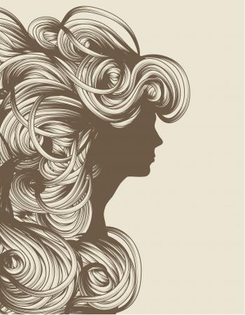 Silhouet van mooie hand getekende vrouw mode illustratie