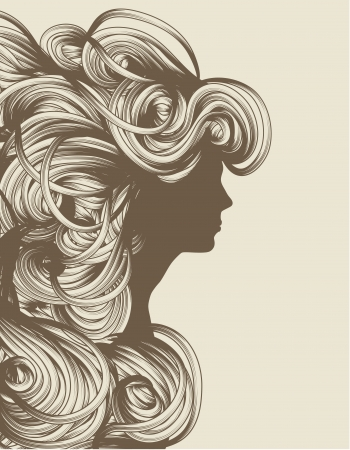 messy hairstyle: Silhouette of beautiful hand drawn woman fashion illustration