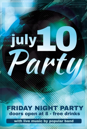 Beautiful blue light effect night club flyer graphic design Vector