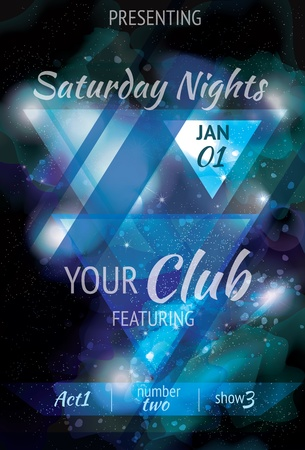 Funky nebula galaxy space style light effect club flyer Vector