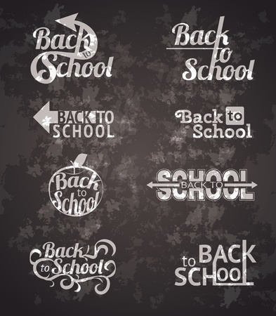 Set of back to school vector typography calligraphic designs Vector