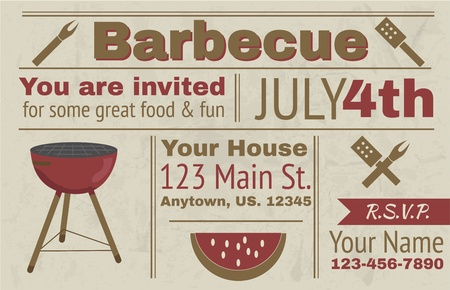 Summer barbecue vector background invitation Ilustração