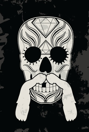 black head and moustache: Sugar skull design with moustache and grunge background Illustration