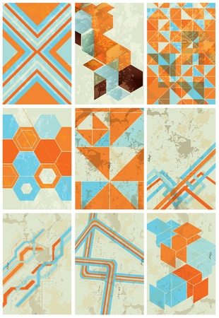 minimalist geometric background vector collection with grunge texture Vettoriali