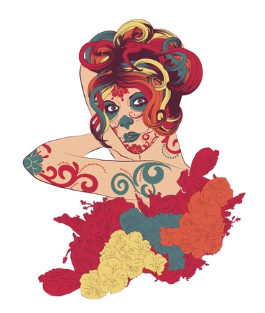 Bright and colorful Sugar Skull Lady with face paint for Day of the Dead  Vector