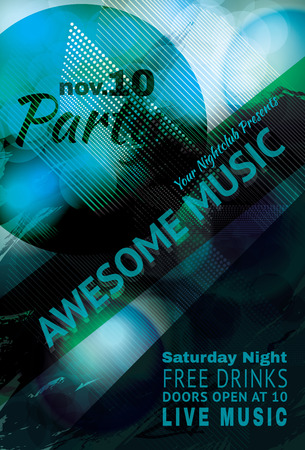 Blue funky Abstract music light effect club flyer Vector