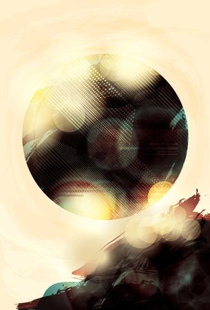 Blurry light effect grunge orb background Illustration