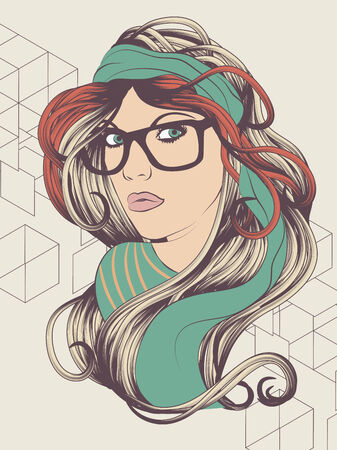 Sexy hipster girl with hipster glasses fashion illustration Иллюстрация