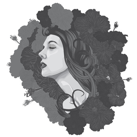Beautiful woman s face with flowers as a background Vector