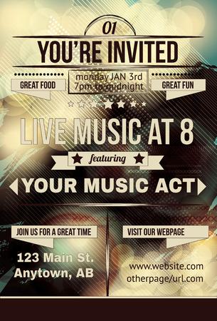 Retro abstract party invitation flyer Vectores
