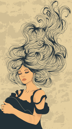Beautiful woman with long flowing hair artistic illustration Ilustração