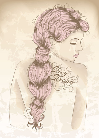 plait: Beautiful woman with back tattoo