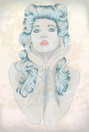 Hand drawn Rockabilly woman with arm tattoos Vector