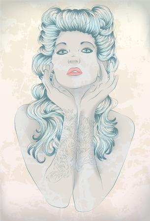 Hand drawn Rockabilly woman with arm tattoos