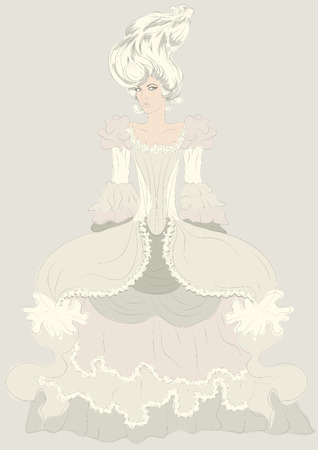 Hand drawn detailed fashion illustration sketch of woman in elaborate period costume dress