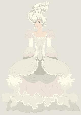 vestidos de epoca: Dibujado a mano ilustraci�n boceto detallado de moda mujer en vestido elaborado trajes de �poca Vectores