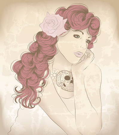 Hand drawn woman with neck tattoo Vector