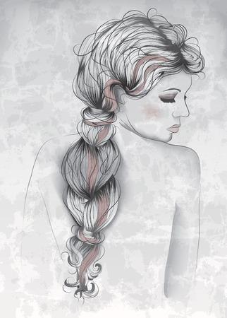 dessin noir et blanc: Le style Belle femme dans la main dessinée Illustration