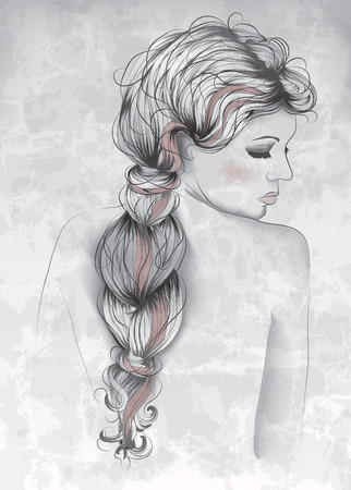 Beautiful woman in hand drawn style