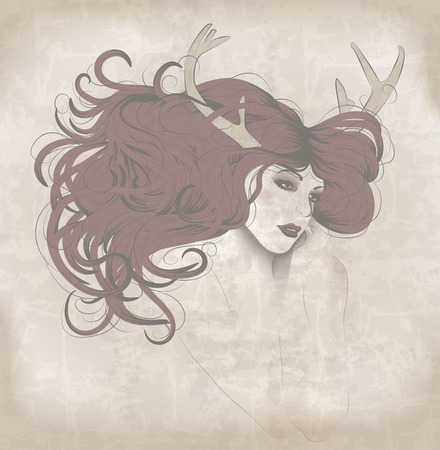 Beautiful woman with long hair and antlers