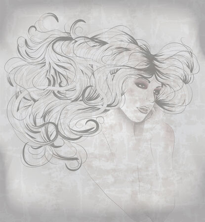 eyes looking down: Beautiful hand drawn sketch of woman with long hair Illustration