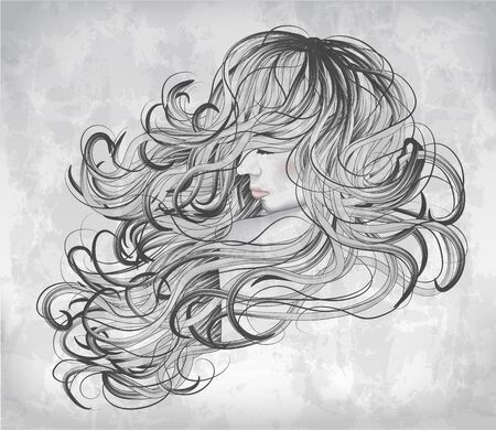 wild hair: Grayscale Hand drawn woman with long hair