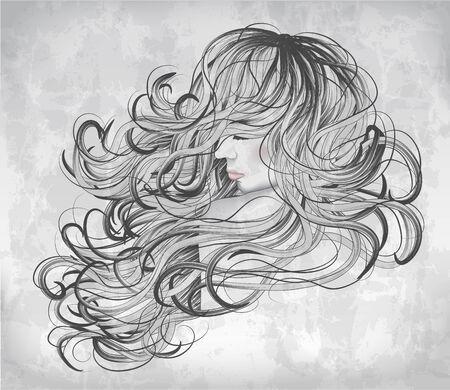 Mujer dibujada en escala de grises de la mano con el pelo largo Foto de archivo - 30218555