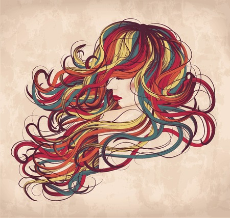 long hair model: Hand drawn woman with long colorful hair