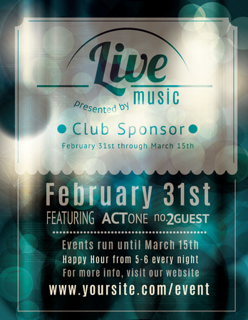 green background: Retro styled Live music venue flyer Illustration