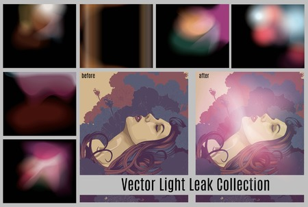 Vector collection of light leak effects Illustration
