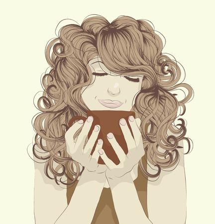 caf�: Bella donna giovane, godendo di una tazza di caff�