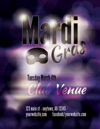 Funky dark Mardi Gras flyer template Vector